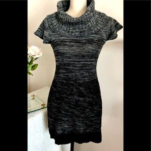 Short Sleeve Black Gray Sweater Dress